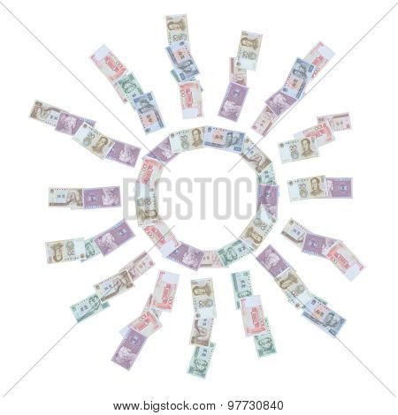 The Sun With 100 Yuan Banknotes