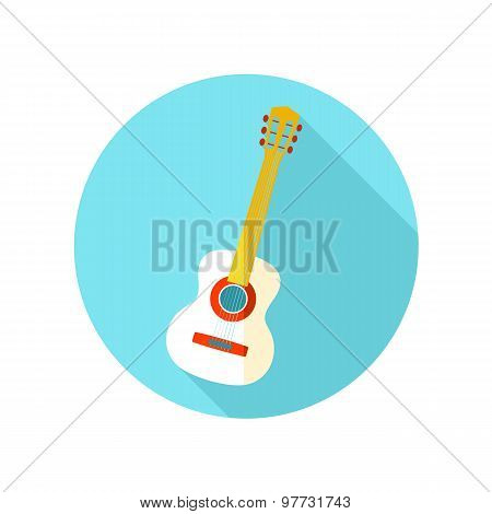 Guitar Beach flat icon with long shadow