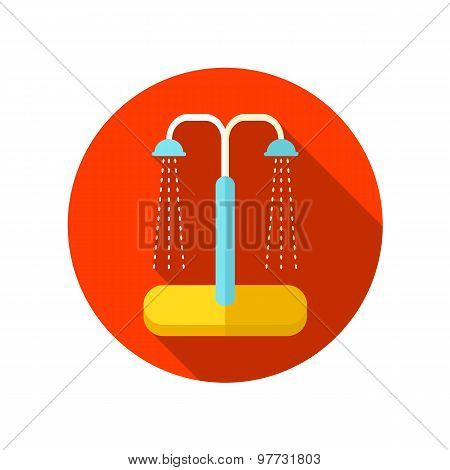 Summer beach pool shower flat icon