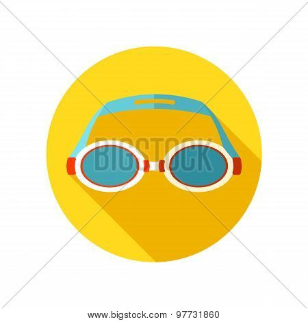 Swimming Goggles flat icon with long shadow