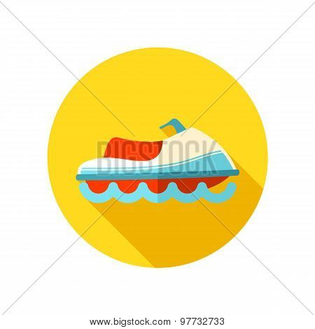 Jet Ski flat icon with long shadow
