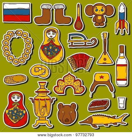 Set of hand drawn stickers on Russia theme: balalaika, vodka, bear, ushanka, matrioshka, rocket. Tra