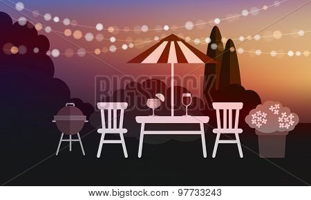 Summer Garden Party Barbecue Background, Sunset Vector