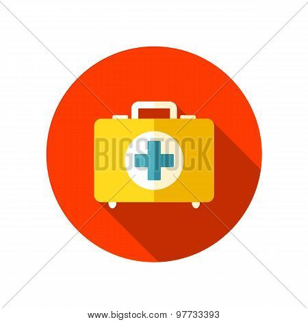 First aid flat icon with long shadow