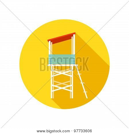 Lifeguard tower flat icon with long shadow