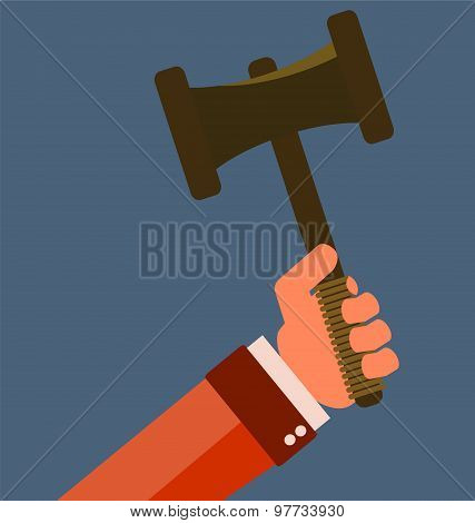 Gavel In Hand. Icon Law. Symbol Of Justice And Judgment.