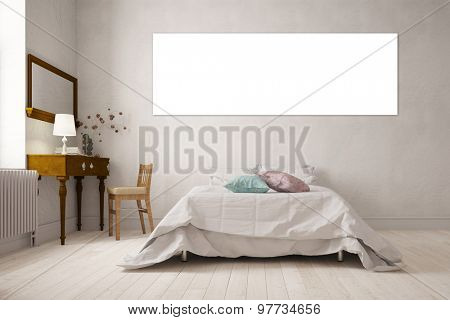 Empty white panorama canvas on wall over a bed in a bedroom (3D Rendering)