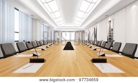 Big table in a bright modern conference room (3D Rendering)