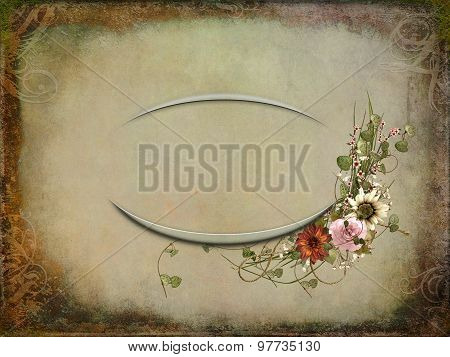 floral bouquet on oval frame