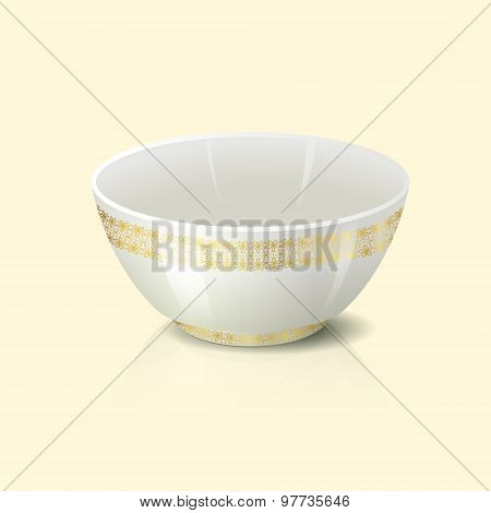 Bowl With Golden Floral Ornament And Reflection