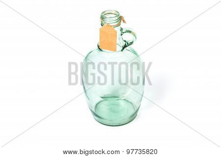 Old Light Green Glass Bottles With Paper Tag 1