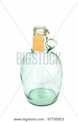 Old Light Green Glass Bottles With Paper Tag 2