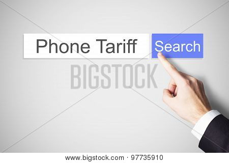 Finger Pushing Web Search Button Phone Tariff