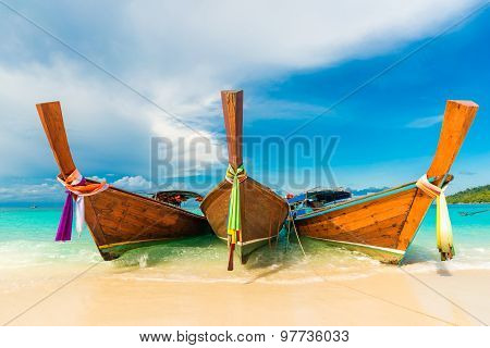 Traditional Longtail Boats In The Famous Lipe Island