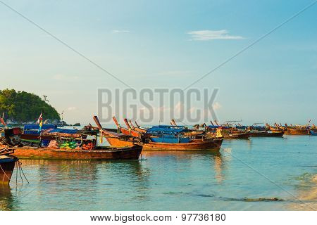 Wooden Longtail Boat On The Beach
