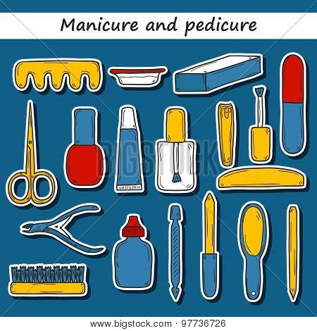 Set of cute hand drawn stickers on manicure pedicure theme: clippers, polish, file, nipper, creams.