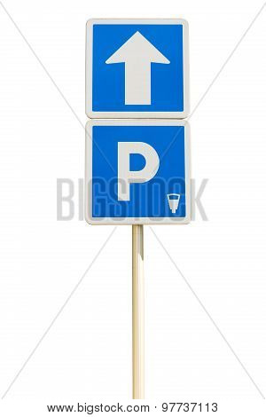 Blue Parking Sign Isolated On A White Background