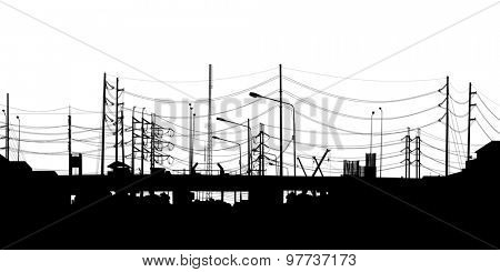 Detailed silhouette of an urban scene of chaotic overhead cables in Bangkok