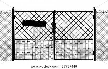 Silhouette of an old security gate with sign and lock
