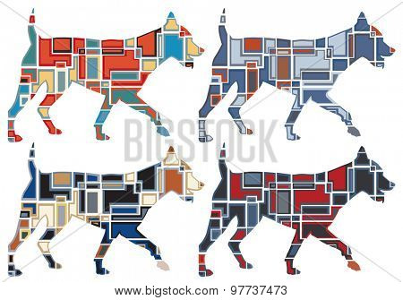 Set of colorful mosaic illustrations of a dog running