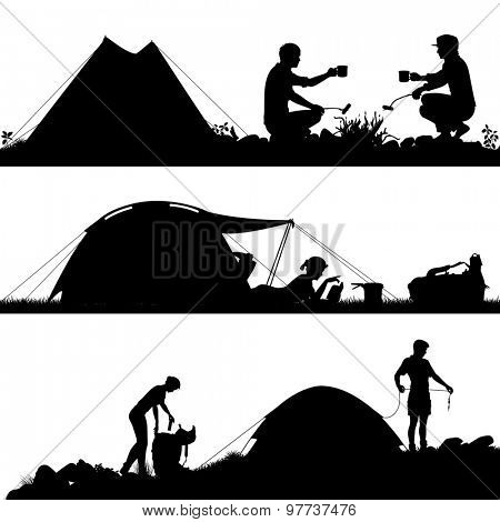 Set of three silhouettes of people camping