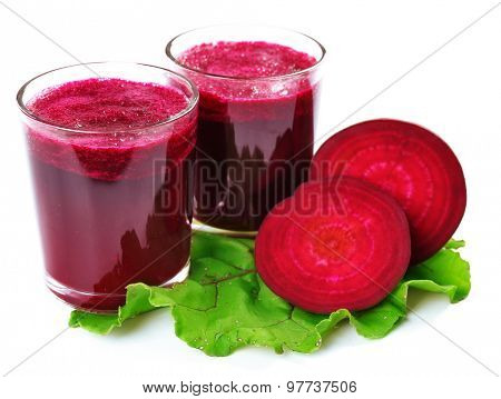 Glasses of beet juice with vegetables isolated on white