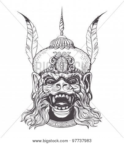 Beautiful hand drawn Indian god Hanuman with the face of a monkey on a white background. Grunge prin