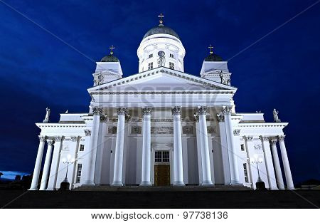 HELSINKI, FINLAND - JULY 08, 2015: Cathedral Of St. Nicholas (cathedral Basilica) In Helsinki