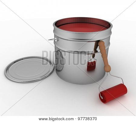 Open bucket with red paint and roller. 3D render illustration on white background.