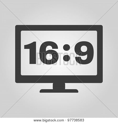 The aspect ratio 16:9 widescreen  icon. Tv and video symbol. Flat