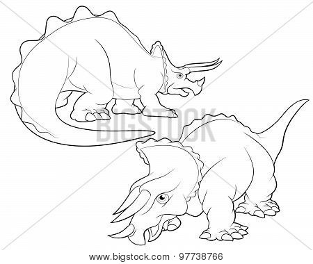 Triceratops Cartoon Lineart