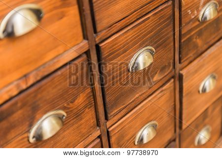 Close-up Of A Really Old Apothecary Cabinet