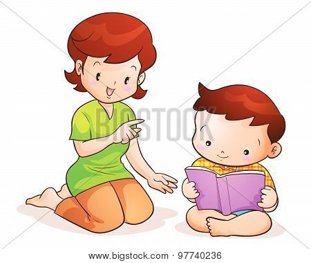 Mother Taught Son Reading