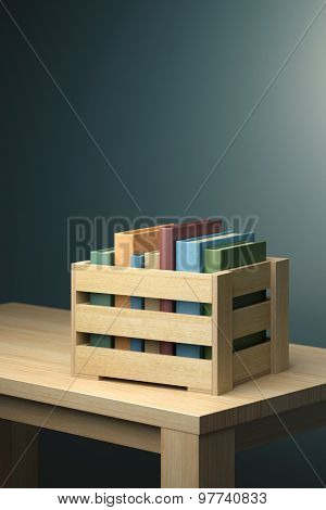 Books in wooden box on the table. Photorealistic 3d render.