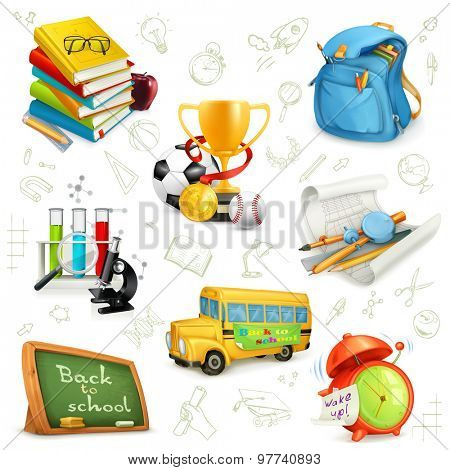 Back to school, education and knowledge, set icons, vector illustrations isolated on the white background with sketches