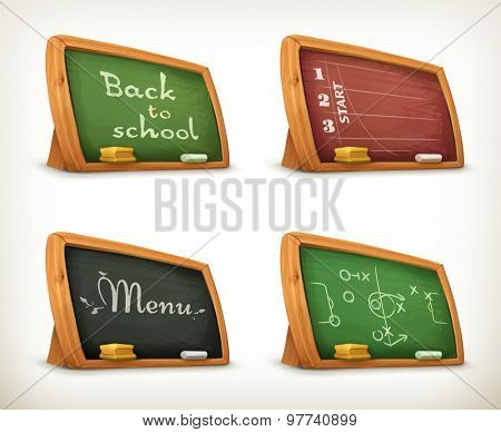 Chalkboards, school sport menu vector set