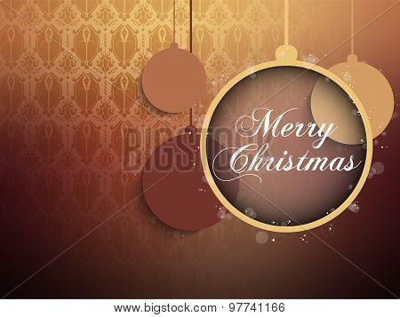 Merry Christmas Retro Brown Background Ball