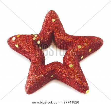Christmas star isolated on white closeup