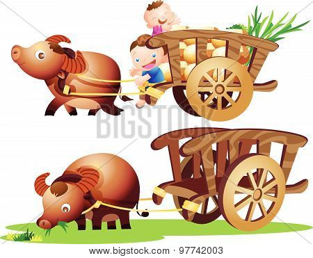 Farmer Buffalo Cart