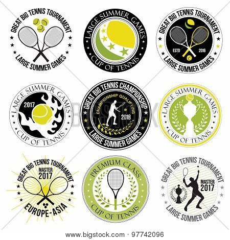 Set of great tennis logos, labels and badges.