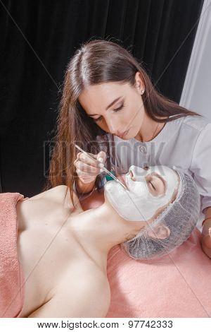 Young woman receiving facial mask at beauty salon