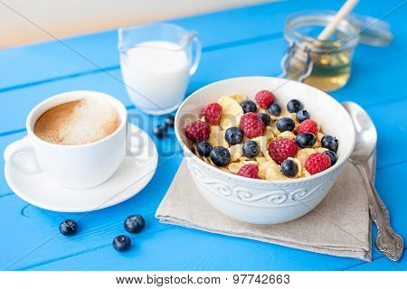 healthy cereal breakfast with coffee