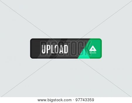 Upload button, futuristic hi-tech UI design. Website, mobile applications icon, online design, business, gui or ui