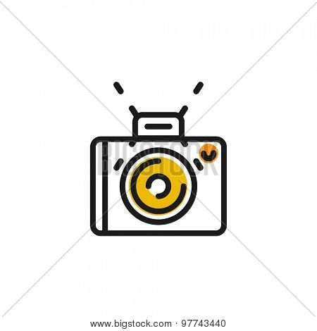 Color line icon for flat design isolated on white. Camera, photo