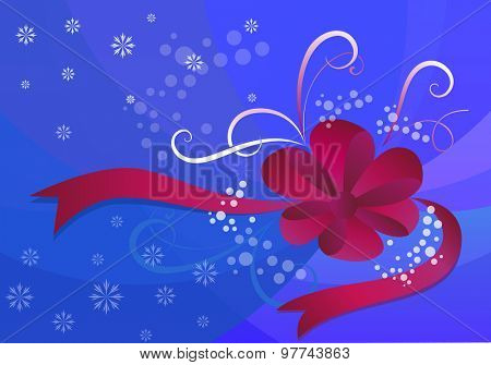 Christmas background with snowflakes and red bow.