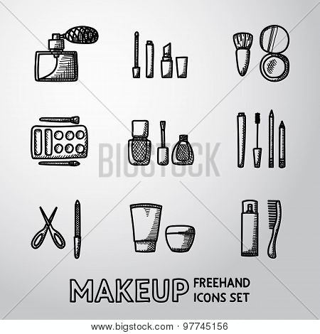 Set of makeup freehand icons. Vector