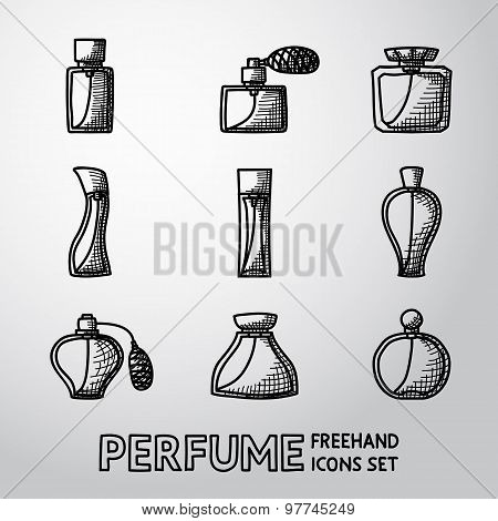 Perfume handdrawn icons set with different shapes of bottles. vector