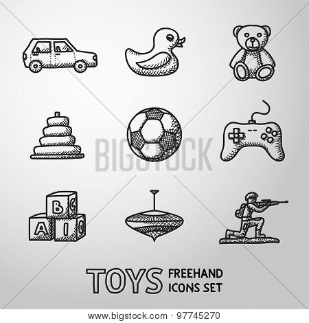 Toys hand drawn icons set with - car, duck, bear, pyramid, ball, game controller, blocks, whirligig,
