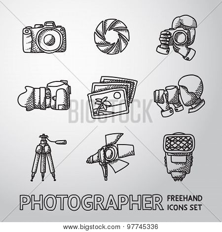 Photographer freehand icons set with - shutter, camera, photos, shooting photographers, flash, tripo