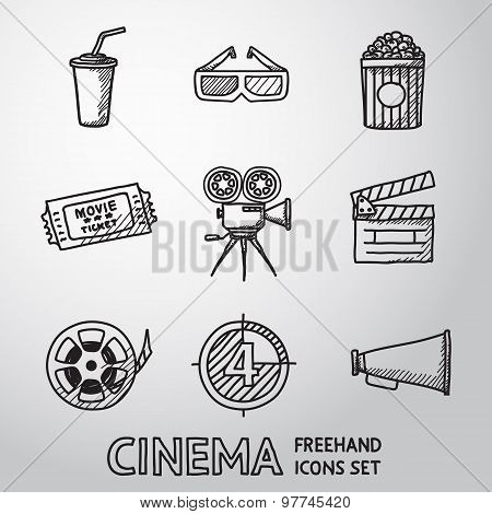 Cinema, movie freehand icons set. Vector